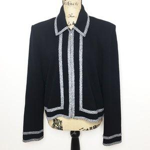 St. John Collection Black White Wool Blend Blazer